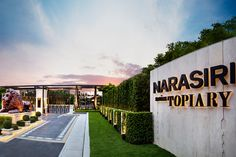"""""""Narasiri Topiary - Reflecting a style beyond excellence, Narasiri Topiary offers an exquisite uniqueness through its architectural design using geometric shapes and forms to render poshness of the we (Entrance Step Design) Pylon Signage, Entrance Signage, Entrance Lighting, Outdoor Signage, Exterior Signage, Entrance Design, Entrance Gates, Grand Entrance, Steps Design"""