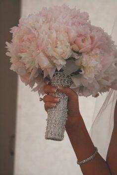 Blush Pink Peonies & Bling Bouquet