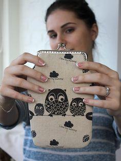 iPhone 6 Plus Wallet Owls Linen Fabric Case por LovekaHandmade