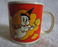 "Vintage 1987 Lefton China Orange Halloween Mug ""Boo"" Witch Ghost on Broom 06423 