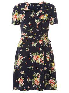 Navy Floral Wrap Tea Dress
