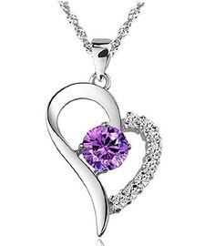 Pretty for daily wear,party,wedding. Sterling silver heart necklace with crystal 925 silver 17.5 inch length chain