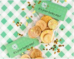 Goodie Bag Tag  These are great if you're planning to give away candy or chocolate coins to your kids or party guests. I love that it says 'It's your lucky day. So positive