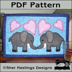 PDF Pattern for Elephant Mug Rug, Elephant Mug Rug Pattern, Elephant Mini Quilt Pattern - Tutorial, DIY