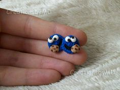 Items similar to Cookie Monster Stud Ohrringe Polymer Clay Fimo handgemacht on Etsy