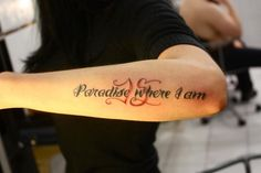 Lettering Tattoo On Arm For Women