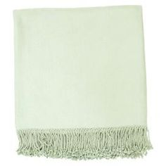 "Bamboo and cotton throw with a fringed trim.   Product: ThrowConstruction Material: 80% Bamboo and 20% cottonColor: AquaDimensions: 50"" x 67""Cleaning and Care: Blot stains"