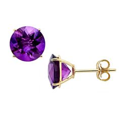 "Love the color of this pair of Earrings made from African Amethyst on 10K yellow #Gold . . 💰47.96💰 with coupon code: HAPPYHOLIDAYS20 . .  Dimensions: 0.31""L X 0.31""W X 0.18""H Main Stone Name: African #Amethyst Main Stone Weight (in carats): 4.15 Main Stone Color: Purple Main Stone Shape: Round Main Stone Grading: 2A Main Stone Setting: PRONG Main Stone Treatment: Heating Main Stone Creation Method: Natural"