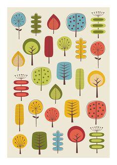 Mid century Modern Autumn Leaves Poster by TomasDesign on Etsy Mid Century Modern Art, Mid Century Art, Art Scandinave, Mundo Hippie, Doodle Art Posters, Doodle Drawing, Autumn Art, Autumn Leaves, Scandinavian Folk Art