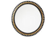 """32"""" Crystals Mirror, Black/Gold"""