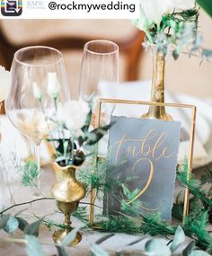 Table number glass frame