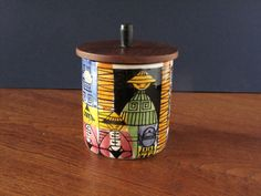 Mid Century Swedish Jie Gantofta jar with wooden lid, ceramic canister, Anita Nylund, Our little town series, tea by VintagemitSahne on Etsy