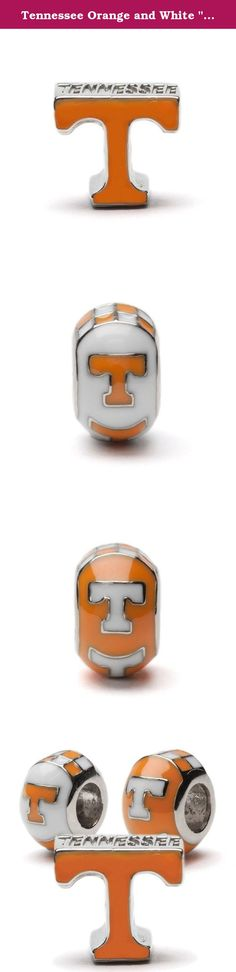"""Tennessee Orange and White """"T"""" with Round Bead Charm Set of Three - Fits Pandora. Gear up for the game! This Tennessee bead charm trio will make the perfect gift for any fan, student or alumni! All charms are made of stainless steel and will not rust or tarnish. Lifetime guarantee. Officially licensed by University of Tennessee. Fits most charm bracelets including Pandora, Chamilia and Stone Armory or can be worn on a necklace. Ships with in 24 business hours from Cleveland, OH."""
