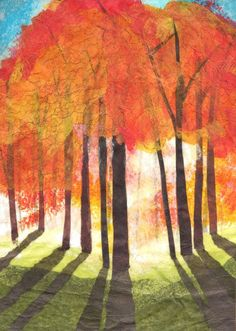 Sunrise - Colored pencil, oil pastel, tissue on foil - Elizabeth Weiss