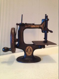 Antique Miniature Singer Sewing Machine - Even a simple hand crank machine like this saved LOTS of time for its owner!!!