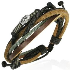 Urban Male Funky Mens Multi Strand Leather Skull Design Bracelet Urban Male. $10.99. Expandable size from 20 to 24cm. Surf style mens leather bracelet. Width 15mm approx. Water resistant and hard wearing. Black, green & brown leather