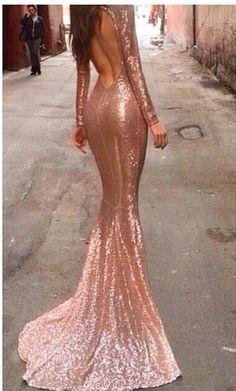 Sequin low back, long sleeve mermaid gown // Rose gold | pinterest: @Blancazh