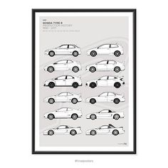 Features the Honda Type R Generations. Various sizes available. These are high quality fine art prints. Printed using an Epson Stylus Pro printer onto 190gsm satin photo paper. Incredible detail, resolution and vibrancy. Civic Type R EK9, EP3, FN2, FD2, FK2, FK8 Integra Type R DC2,