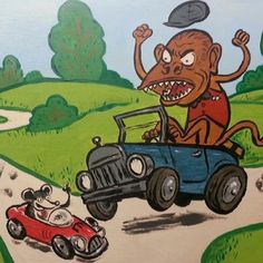 Road Rage! From the #8x10 show #monkey #jalopy #illustration