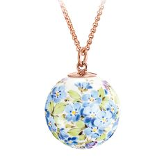 Pendant in Meissen Porcelain® Forget-me-not with loop in 18K rose gold, without chain, Ø 2,1 cm