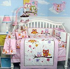 Soho Pink Dancing Owl Baby Crib Nursery Bedding Set With Diaper Bag 14 Pcs
