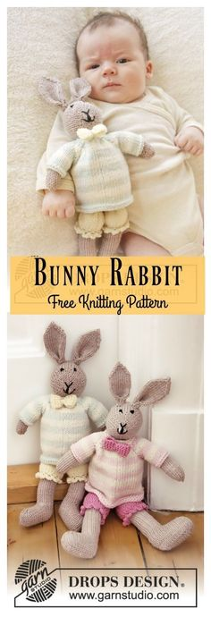 knitted dolls This Bunny Rabbit Free Knitting Pattern is a fun and cute little companion you can gift or just keep for yourself! Make one now with the free pattern provided by the link b Baby Knitting Patterns, Crochet Amigurumi Free Patterns, Free Knitting, Knitting Toys, Bear Patterns, Ravelry Crochet, Knitted Doll Patterns, Dress Patterns, Knitted Bunnies