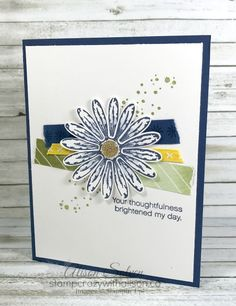 It's Card Swap Sunday, the day I share a card I've created for a swap or received in a swap. Today's card is courtesy of my friend Lisa Althouse who presented the Delightful Daisy Suite of products at On Stage...