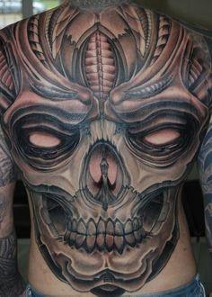 Spooky Great Skull Tattoo On Whole Back ~ Skull Tattoo Ideas