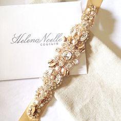 Rose Gold Crystal Hochzeits-Gürtel von HelenaNoelleCouture auf Etsy
