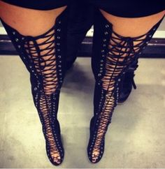 Love love love these thigh high lace up boots by Alex Perry/Tony Bianco