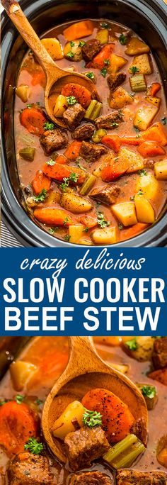Slow Cooker Homemade Classic Beef Stew makes the perfect comforting dish on a cold day. Best of all, it's easy to make and simmers in the crock-pot for the most delicious and tender meat with carrots, potatoes, sweet potatoes and celery. Super comforting for a cozy Sunday and full of amazing flavors that the entire family will love! #slowcooker #crockpot #beefstew #homemade #comfortfood #stew #winter #fall #cozy #stew #beef #irishstew #beefbourguignon #beststew Stew Meat Recipes, Ww Recipes, Dinner Recipes, Beef Stew Crock Pot, Homemade Beef Stew, Stew In Crockpot, Beef Stew Crockpot Easy, Crockpot Meals, Beef And Potato Stew