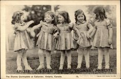 The Dionne Quintuplets born 1934...copy of this to hang with my spoons of them?