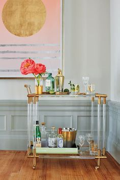 Decorating Small Spaces, Furniture For Small Spaces, Interior Decorating, Interior Design, Home Design, Design Ideas, Design Projects, Gold Bar Cart, Brass Bar Cart