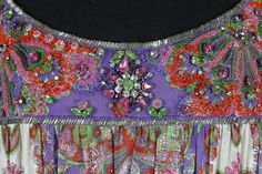 detail - 1960s George Halley Purple Metallic Paisley Gown with Jeweled Embellishment.