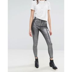 Waven Anika Metallic High Rise Skinny Jeans (57 CAD) ❤ liked on Polyvore featuring jeans, silver, high rise jeans, super skinny jeans, high-waisted jeans, relaxed jeans and high waisted denim skinny jeans