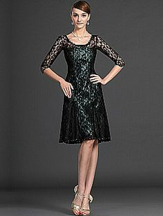 Allover Lace Half Sleeved Knee Length Mother of the Bride Dress - USD $157.97