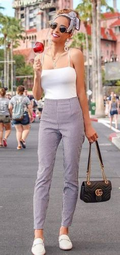 High Waist #gingham Print Pant, Trendy #headscarf And #flats #summer #summeroutfits #womenfashion #summerstyle