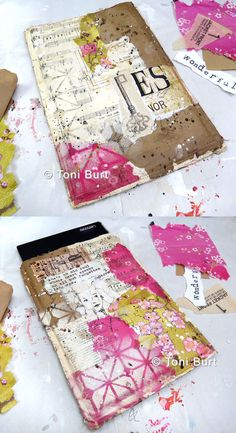 """fabric and collage mixed media tablet cover - by toni burt - learn how in my online class """"wrapped in vintage"""""""