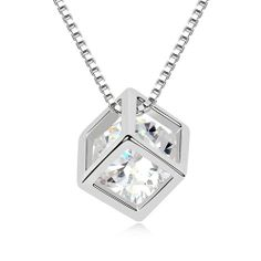Crystal Jewelry Love Square Necklace by Swarovski Elements - Promotional Offers- - TopBuy.com.au
