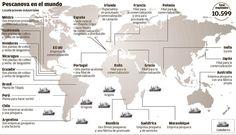 Espectacular mapa infográfico de las localizaciones de Pescanova en el mundo. Vía la Nueva España