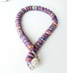 Turquoise composite Pink/Purple Rondelle Necklace by BijiBijoux,