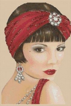 Counted-Cross-Stitch-ART-DECO-LADY-w-Red-Head-Scarf-COMPLETE-KIT-No-8vb-22-KIT