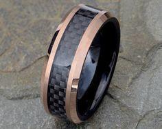 Two tone Tungsten Wedding Band, Black Carbon Fiber Ring, Mens Wedding Ring, 8mm Mens Tungsten Ring, Rose Gold Tungsten Ring, Carbon Ring