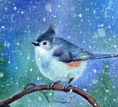 """SNOW BIRD watercolor bird snow painting by Barbara Fox"" - Original Fine Art for Sale - © Barbara Fox"