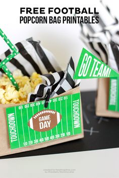 FREE Football Popcorn Bag Printables on iheartnaptime.com