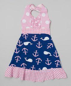Look what I found on #zulily! Navy Whale Halter Dress - Girls #zulilyfinds