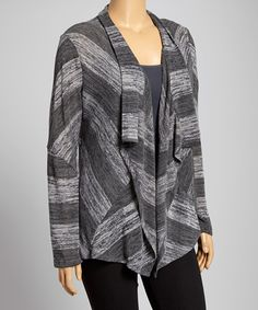 Look what I found on #zulily! Black & Gray Stripe Open Cardigan - Plus by DJ Summers #zulilyfinds