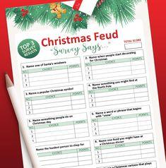 Christmas games printable Christmas Family Feud Game Holiday | Etsy