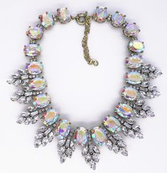 kadın moda takı ab parlaklık oval yaprak kristal yapay elmas çiçek lüks deyimi kolye ve kolye gerdanlık yaka sıcak