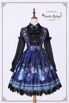Dark Ruby -Astrology- Sweet Lolita Skirt with Collar Style Shoulder Straps,Lolita Dresses, Kawaii Fashion, Lolita Fashion, Cute Fashion, Emo Fashion, Gothic Fashion, Dark Fashion, Pretty Outfits, Pretty Dresses, Beautiful Outfits